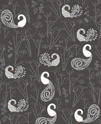 卡通插画灰色背景上的植物森林的白色孔雀