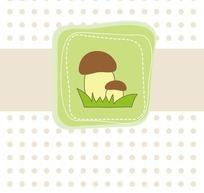 卡通插画时尚波点上虚线边框的绿色蘑菇