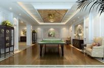 房间里的乒乓桌上的乒乓球和球拍