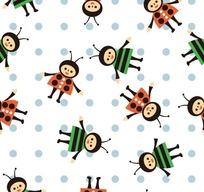 蓝色圆点和可爱的蜜蜂构成的图案