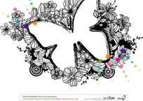 线描花朵和彩色五角星装饰的蝴蝶形边框