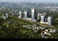 鸟瞰绿茵环绕高端商住宅区规划效果图