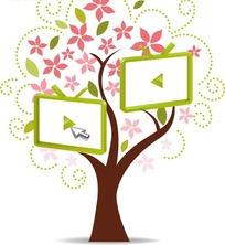 矢量插画绿树红色花朵和鼠标点击播放