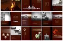 暗红色高贵典雅中国风楼书画册