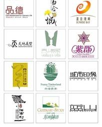 各种现代时尚房地产别墅标志合集-品德 百合新城