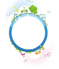 蓝色圆形边框和云朵房屋五角星绿树栅栏插画