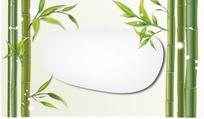 插画竹子和竹叶间的不规则边框