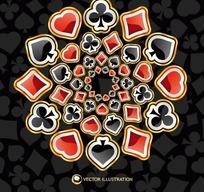 扑克牌花色矢量背景素材