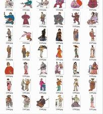 手绘古代日本武士和女子