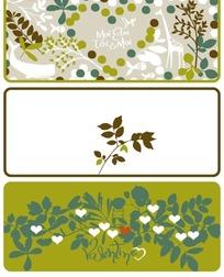 长颈鹿小鱼叶子心形卡片背景