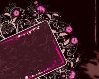 潮流花朵卷纹文字框背景