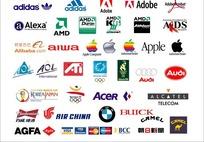 电脑软件及运动产品汽车的标志集合