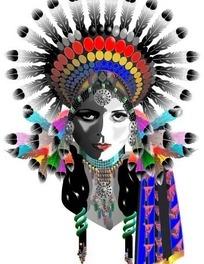人物插画 戴着鹰羽头饰的印第安女孩头像
