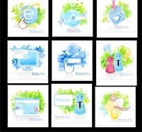 各种精美的蓝色主题标志系列一