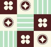 花朵五角星条纹底纹图案