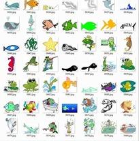 卡通海底动物合辑-海马青蛙等动物