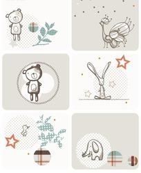 卡通小熊小兔子背景