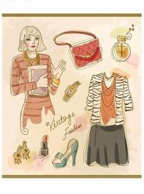 手绘国外美女和服装饰品矢量素材图片
