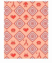红底菱形动物图案