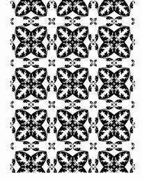 白色背景上的黑色四角花纹