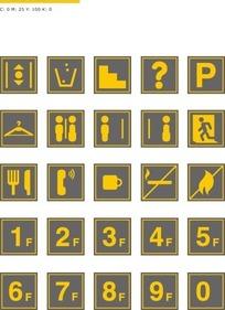 黄色公共导视标识
