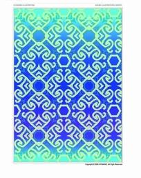 蓝色背景勾边花纹六边形图案