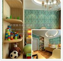 绿色花纹墙儿童卧室效果图