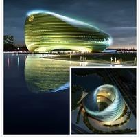 凤凰卫视电视台建筑外景环境设计模型及鸟瞰效果图