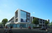 建筑效果图--蓝天下的现代化会议中心外观及来往行人