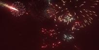 烟花视频 天空发射的爆发的火红烟花
