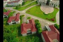 房地产短片 镜头鸟瞰拍摄的别墅区房子和绿化