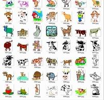 卡通动物合辑-奶牛水牛等动物
