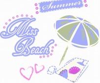 英文和粉色圆形以及心形和手绘遮阳伞