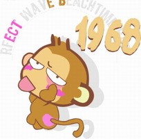 英文和数字下的可爱卡通猴子