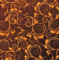 植物背景素材—褐色渐变背景上的橙色枝条
