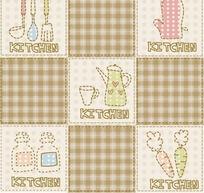 棕色格子和手绘瓶子茶具手套胡萝卜和厨具背景素材
