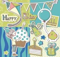 方格前的手绘三角旗和蛋糕礼物盒以及男孩
