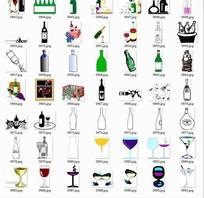 手绘杯子和瓶子合辑