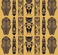古典部落面具图藤