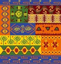 古典部落三角形回纹图藤