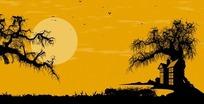 万圣节视频 黄昏太阳下阴森树林的房子蝙蝠和骷髅