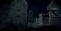 万圣节视频 夜幕下阴森的墓地墓园