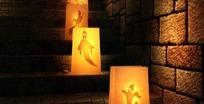 万圣节视频 阴暗古堡的梯级可怕鬼魂图案的灯笼