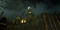 万圣节视频 月亮下隔着围栏阴森的古堡