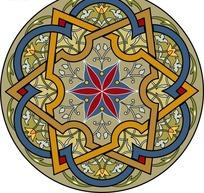 装饰图案—棕色背景上的精美圆形枝条和六角形