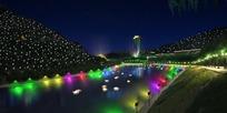 河道夜景景观照明效果图