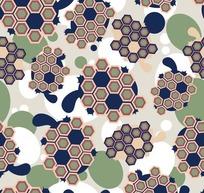 灰色背景蓝色乌龟红色六边形图案
