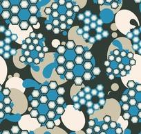 墨绿色背景蓝色乌龟六边形图案
