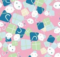 粉红背景绿色礼物小熊图案