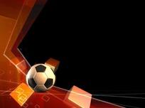 体育视频 背景 转动的足球和橙色立方体